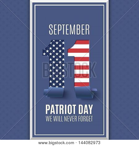Patriot Day abstract background. 11 September, National Day of Remembrance. Vector illustration.