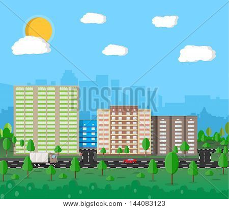 Modern summer City View. Cityscape with office and residental buildings, trees, road with car, truck, blue background with clouds and sun. vector illustration in flat style
