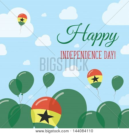 Ghana Independence Day Flat Patriotic Design. Ghanaian Flag Balloons. Happy National Day Vector Card