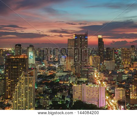 Bangkok Cityscape Business district with high building at dusk (Bangkok Thailand)