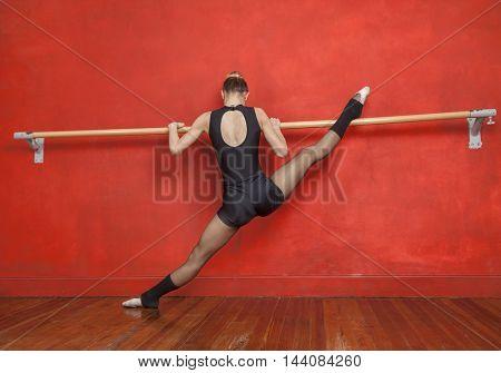 Ballerina Practicing In Front Of Mirror At Studio