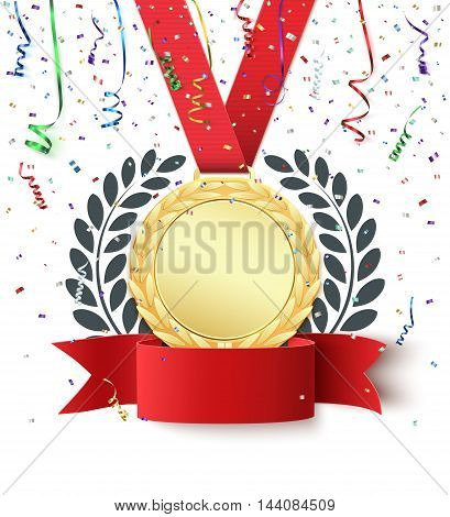 Champion, winner, number one background with red ribbon, gold medal, olive branch and confetti on white. Blank poster or brochure template. Vector illustration.