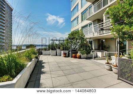 Terrace Of City Apartment On Sunny Summer Day In Seattle