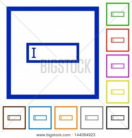 Set of color square framed editbox flat icons