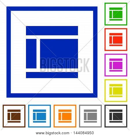 Set of color square framed Two columned web layout flat icons