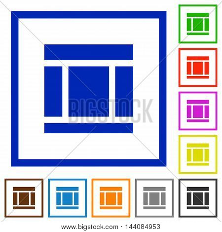 Set of color square framed Three columned web layout flat icons
