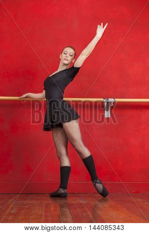 Young Ballerina Practicing At Barre In Studio