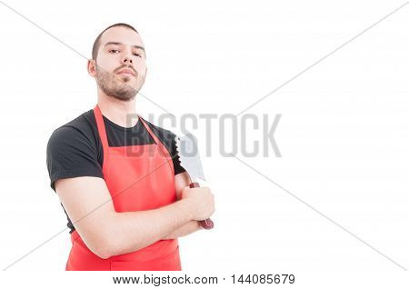 Confident Butcher Posing With Arms Crossed