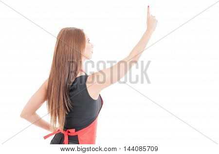 Female Clerk Pointing Finger On Invisible Screen