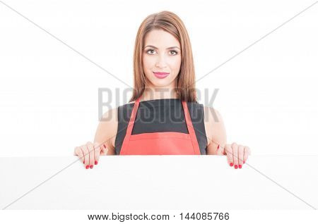 Portrait Of Young Saleswoman Showing Blank Board