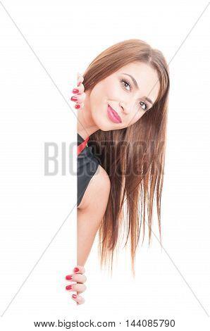 Beautiful Woman Standing Behind Blank Cardboard
