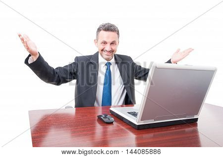 Cheerful Businessman Acting Friendly And Rising Hands Up