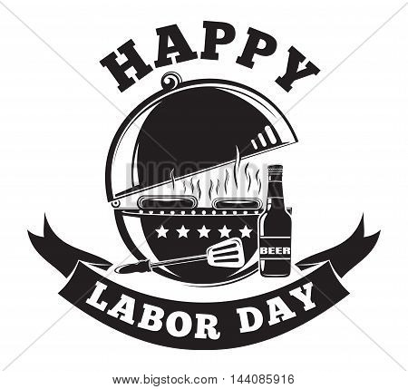 Labor Day logo design with grill barbecue (BBQ), grilled meat, hot dog, beer bottle and lettering - Happy Labor Day. Vector illustration isolated on white background