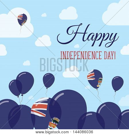 Cayman Islands Independence Day Flat Patriotic Design. Caymanian Flag Balloons. Happy National Day V