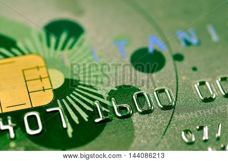 Closeup credit card. finance and banking concept.