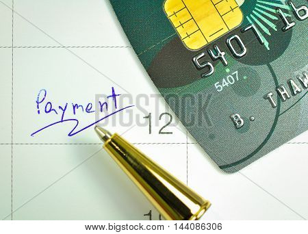 payment day Calendar finance and banking concept.