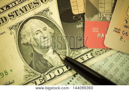 money dollar and credit card. finance and banking concept.