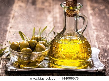 Olive Oil On Wooden Table , Food Concept