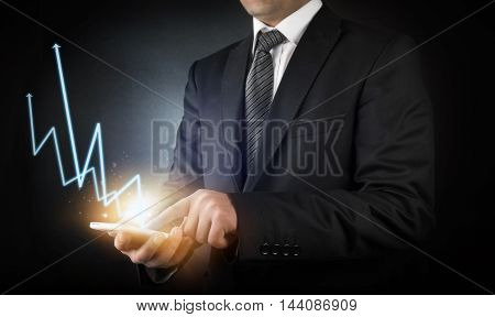 Businessman  profits followed with smartphone high quality and high resolution studio shoot