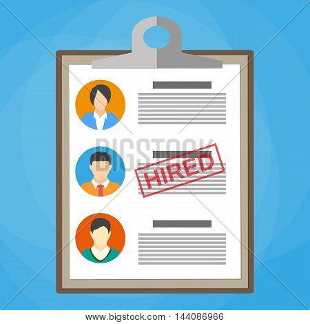 Human resources management concept, searching professional staff, analyzing resume papers, work. clipboard with resume papers and hired stamp. vector illustration in flat design