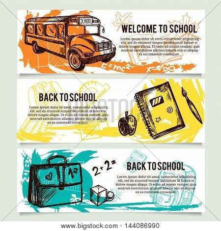 Back to school banners or website header set.
