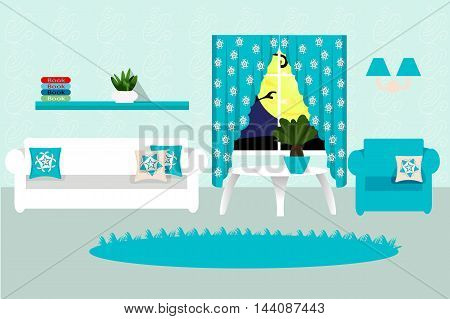 The interior living room, cozy room, sofa, table, chair, window, rug, pillow, plant, vector illustration