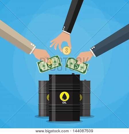 Businessman hand picking up gold coin and dollar cash into oil barrel, Oil investment concept. vector illustration in flat style on blue background