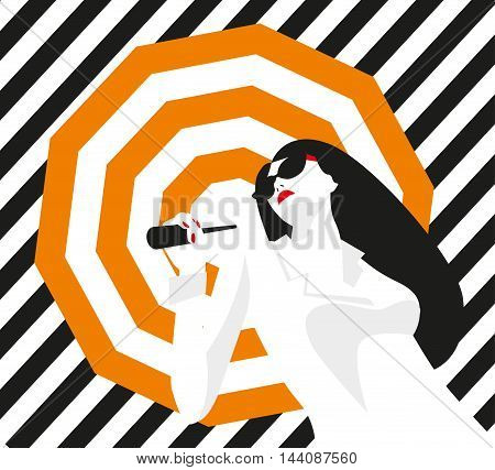Fashion girl with an umbrella. Bold, minimal style. Pop Art. OpArt, positive negative space and colour. Trendy strips.Vector illustration. - stock vector