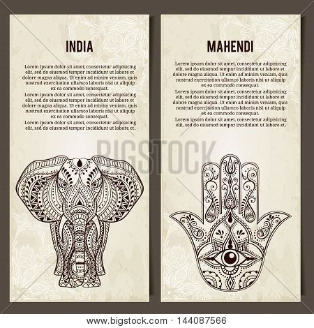 Set of yoga symbols Horizontal banners.Indian Hand Drawn Hamsa with All Seeing Eye, Elephant. Arabic and Jewish amulet. Vector Illustration