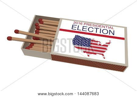 US Election 2016: Matchbox With Matches Isolated On A White Background 3d illustration