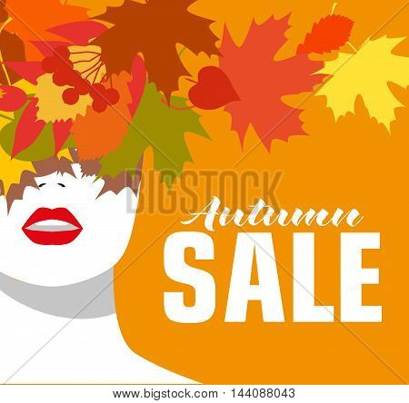 Autumn sale. Banner. Fashion girl. Colored leaves. Bold, minimal style. Pop Art. OpArt, positive negative space and colour.Vector illustration - stock vector