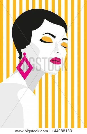 Fashion girl. Bold, minimal style. Pop Art. OpArt, positive negative space and colour. Trendy strips.Vector illustration. - stock vector