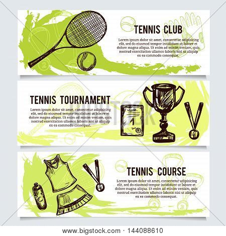 Set for tennis school tournament equipment shop Horizontal banners.