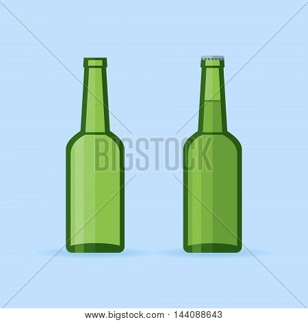 Green glass beer bottles isolated on blue background. Empty and full bottle with cap. Flat style vector illustration.