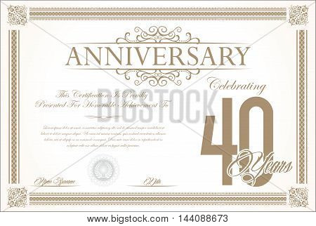 Anniversary retro vintage background vector 40 years