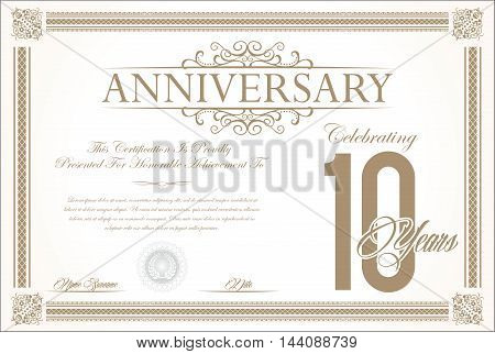 Anniversary retro vintage background vector 10 years