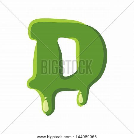 Letter D from latin alphabet with numbers and symbols made of green slime. Font can be used for Halloween design and other purposes