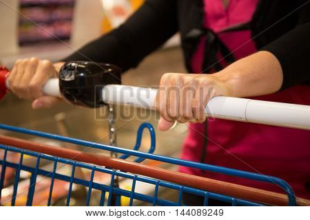 Woman Shopping At The Supermarket, Closeup Of Hands