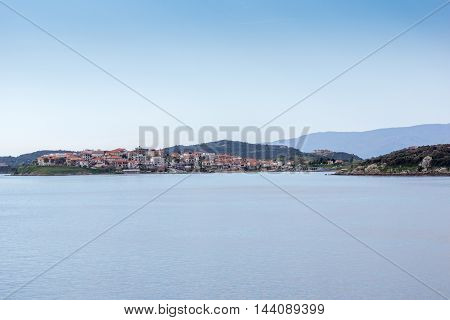 Panoramic view to Ammouliani island, Athos, Chalkidiki, Central Macedonia, Greece