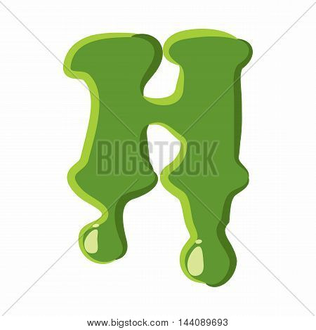 Letter H from latin alphabet with numbers and symbols made of green slime. Font can be used for Halloween design and other purposes