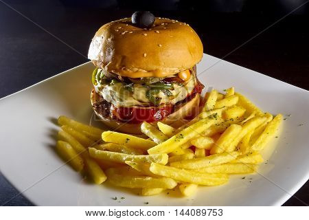 Burger food image for commercial or promotional use
