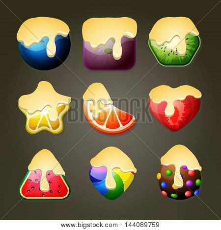 Set of fruit candies for match three puzzle game with chocolate topping
