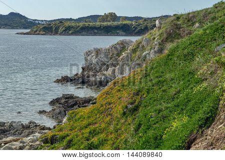 Rocks on coastline of Ammouliani island, Athos, Chalkidiki, Central Macedonia, Greece