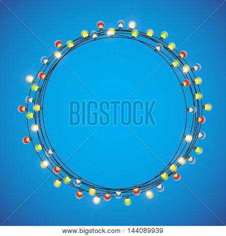 Abstract Beauty Merry Christmas and New Year Background with Multicolored Garland Lamp Bulbs Festive. Vector illustration EPS10