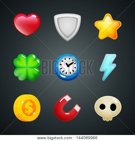 Set of game elements icons heart shield star clover clock lightning coin magnet skull