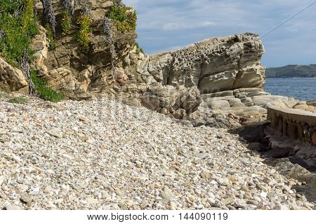 Panorama of Rocks and small beach in Ammouliani island, Athos, Chalkidiki, Central Macedonia, Greece