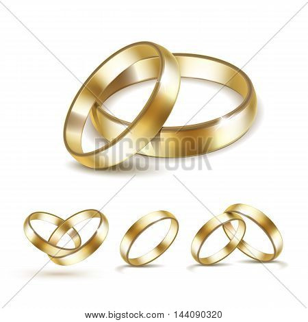 Vector Set of Gold Wedding Rings Isolated on White Background