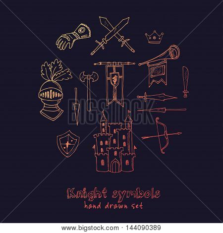 Sketch knight symbols and elements vector set.