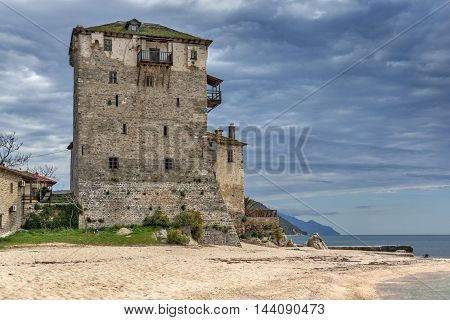 Amazing view to Medieval tower in  Ouranopoli, Athos, Chalkidiki, Central Macedonia, Greece