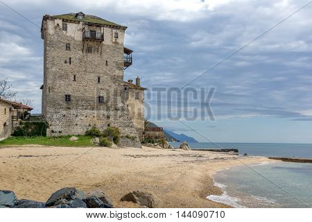 Amazing Seascape with Medieval tower in  Ouranopoli, Athos, Chalkidiki, Central Macedonia, Greece